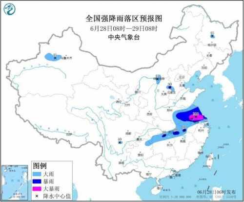 暴雨黄色预警:7省市有大到暴雨 安徽江苏局地大暴雨