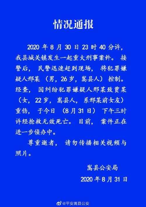 嵩县警方通报男子当街打死前女友全文 事件始末经过曝光惨无人